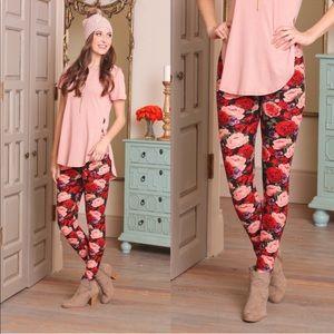 Rose printed soft brushed leggings
